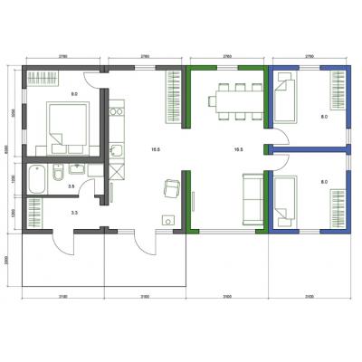 Modułowy dom, 5-pokojowe - układ