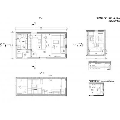 Modułowy dom 1-pokojowe - układ